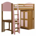 Verona High Sleeper Bed Set 1 Antique With Pink Details