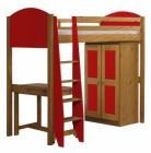 Verona High Sleeper Bed Set 1 Antique With Red Details