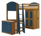 Verona High Sleeper Bed Set 2 Antique With Blue Details