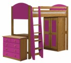 Verona High Sleeper Bed Set 2 Antique With Fuschia Details