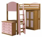 Verona High Sleeper Bed Set 2 Antique With Pink Details