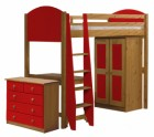 Verona High Sleeper Bed Set 2 Antique With Red Details