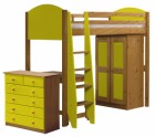 Verona High Sleeper Bed Set 3 Antique With Lime Details