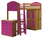 Verona High Sleeper Bed Set 3 Antique With Fuschia Details