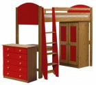 Verona High Sleeper Bed Set 3 Antique With Red Details