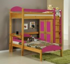 Maximus L Shape High Sleeper Antique With Fuschia Details