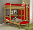 Maximus L Shape High Sleeper Antique With Red Details