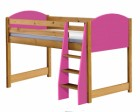 Verona Mid Sleeper Bed Antique With Fuschia Details