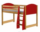 Verona Mid Sleeper Bed Antique With Red Details
