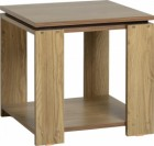 Charles Lamp Table in Oak Effect Veneer with Walnut Trim