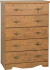 Cairo 5 Drawer Chest in Dark Kennedy Pine Effect Veneer