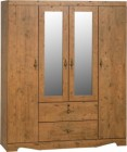 Cairo 4 Door 2 Drawer Mirrored Wardrobe in Dark Kennedy Pine Effect Veneer